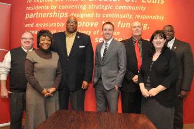 From left: ARCHS' Executive Vice President Steve Brawley, Vice President of Grant Management Services Kristy Kight, Chief Executive Officer Wendell E. Kimbrough, Secretary of State Jason Kander, ARCHS' Chief Financial Officer Terry Blake, Vice President of Grant Management Services Amber Donnelly, and Vice President of Grant Management Services Les Johnson.