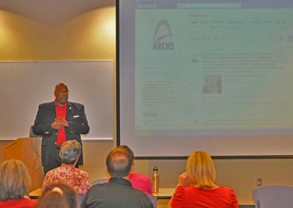 "ARCHS' CEO Wendell E. Kimbrough talks with area not-for-profit leaders at the ""Getting Down to Business with Social Networking"" presentation."
