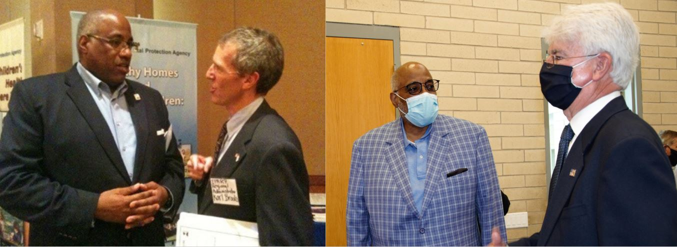 Left: ARCHS' CEO Wendell Kimbrough speaks with EPA Region 7 Administrator Karl Brooks in 2010. Right: Kimbrough speaks with EPA Region 7 Administrator Jim Gulliford at 2020 Carter Carburetor Cleanup Ceremony.