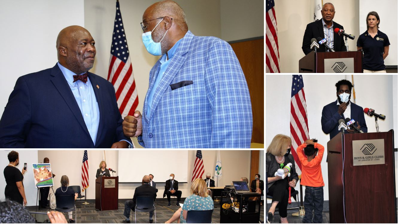 Top Right: Ozzie Smith and Ali Wells from the Gateway PGA Reach Foundation; Bottom Right: Alderman Brandon Bosley reflects on his time as a 'club kid' with his young son in tow; Top Left: ARCHS' CEO Wendell Kimbrough congratulates Boys & Girls Club CEO Dr. Flint Fowler on the acquisition of the old Carter Carburetor site; Bottom Left: Mayor Lyda Krewson speaks in a socially distanced press conference with EPA officials and Congressmen William Lacy Clay by her side